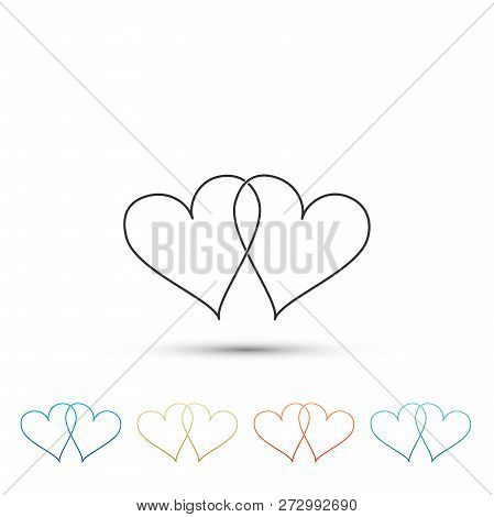 Two Linked Hearts Icon Isolated On White Background. Heart Two Love Sign. Romantic Symbol Linked, Jo