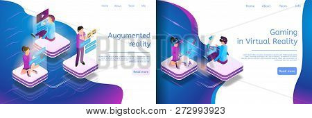 Isometric Online Communicating, Virtual Gaming. Banner Set Illustration Gaming In Virtual Reality, A