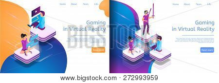 Isometric Online Communicating, Virtual Gaming. Banner Set Image Gaming In Virtual Reality. Guy And