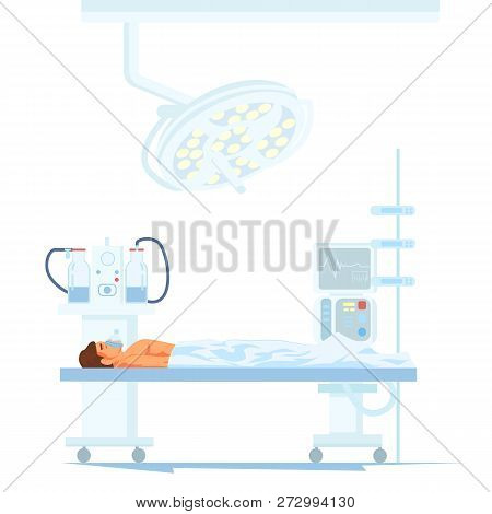Modern Surgery Equipment Flat Vector Concept With Male Patient Under Influence Of Anesthesia Lying O