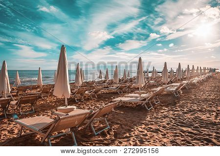 The Sandy Beach At Jesolo On A Sunny Summers Day