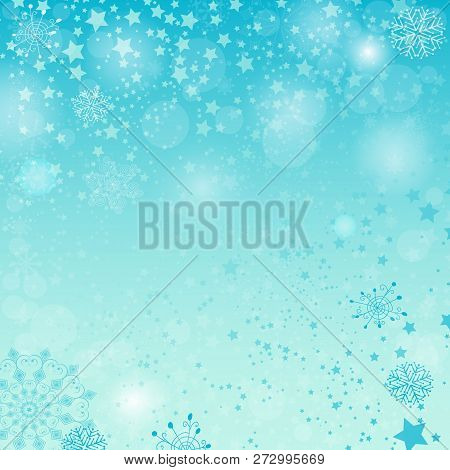 Winter Pastel Blue Spotty Christmas Pattern With Snowflakies And Stars (eps 10)