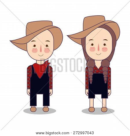 Cowboy And Cowgirl. Farmer America Usa. Funny Cartoon And Vector Characters, Isolated Objects