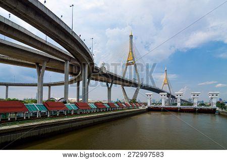 Bangkok, Thailand-april 28:the Bhumibol Bridge, One Of Thailand Most Famous Bridges, Spanning The Ri