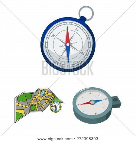 Vector Illustration Of Compass And Travel Sign. Collection Of Compass And Orientation Vector Icon Fo