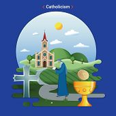 Flat rural landscape illustration symbolizing Catholicism. A Priest goes to serve in the catholic church. poster