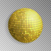 Glitter disco ball vector. Golden mirrorball isolated. Discoball shine light effect. Night club decoration. Vector illustration. poster