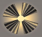 Surreal abstract mesh disc in four sections in silver gray gold white and black. Set against a silver grey and gold background. poster