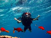 A young girl in a diving equipment for the first time plunges into the sea with a swimming instructor near a coral reef poster