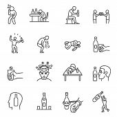 Alcoholism, drunkenness, icon set. Hangover. alcohol intoxication, linear icons. Line with editable stroke poster
