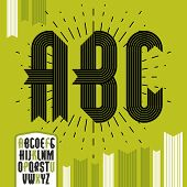 Vector trendy vintage capital English alphabet letters, abc collection. Funky condensed bold font, typescript can be used in art creation. Created using stripy ornate, parallel lines. poster
