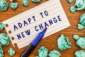 Conceptual hand writing showing Adapt To New Change. Business photo showcasing Get Used to Latest Mindset and Behavior Innovation poster