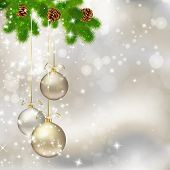Christmas balls on abstract light grey background. Vector eps10 illustration poster