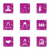 Accomplishment icons set. Grunge set of 9 accomplishment icons for web isolated on white background poster