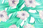 Cyan exotic pattern. Monstera and hibiscus flowers tropical bouquet. Saturated large floral swimwear print. Horizontal romantic wild vector exotic tile. Hypernatural botanic design. poster