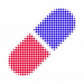 Medication pill halftone dotted icon. Halftone pattern contains circle pixels. Vector illustration of medication pill icon on a white background. poster