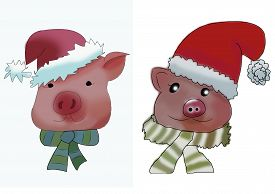 Set With Pork Heads In A Christmas Hats And A Striped Scarfs. Sketch. Raster Illustration. Symbol Of