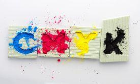 Cmyk Colour Toner For Printer Cyan Magenta Yellow On White Background