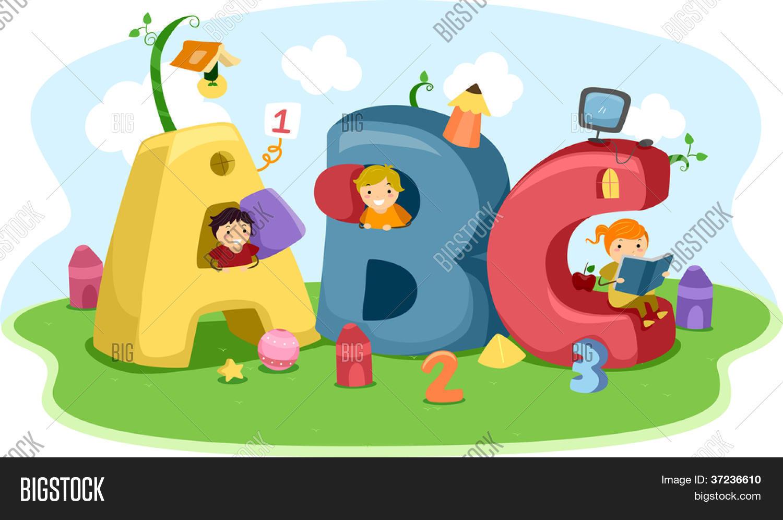 Ilustración de niños jugando con casitas en forma de carta