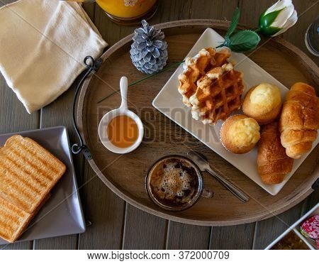 Breakfast Or Snack With Croissant Muffins Waffles And Coffee
