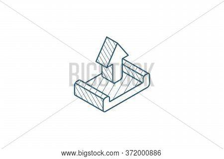 Unloading Shipment Isometric Icon. 3d Line Art Technical Drawing. Editable Stroke Vector