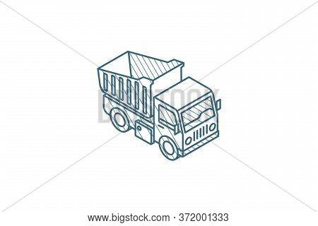 Dump Truck Isometric Icon. 3d Line Art Technical Drawing. Editable Stroke Vector