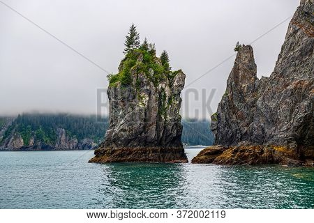 Interesting Rock Formations Of Aialik Bay In Kenai Fjords National Park In Alaska.