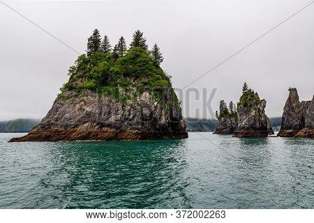 Rock Formations In Aialik Bay In Fjords National Park In Alaska.