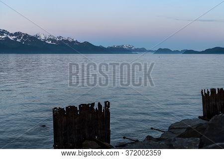 Ressurection Bay At The Extended Dusk In Seward Alaska.