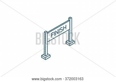 Finish Banner Isometric Icon. 3d Line Art Technical Drawing. Editable Stroke Vector
