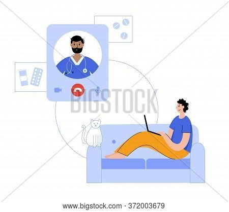 Doctor Consults A Happy Man By Videocall Via Smartphone. Flat Vector Illustration. Medical Poster Fo