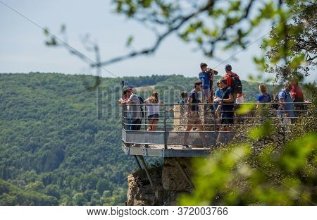 Dordogne, France - August 16, 2019: People at the Jardins de Marqueyssac in the Dordogne region of France