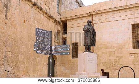 Statue Of A Former Prime Minister At Castille Square Valletta Malta - Valletta, Malta - March 5, 202