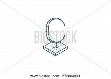 Tree Isometric Icon. 3d Line Art Technical Drawing. Editable Stroke Vector
