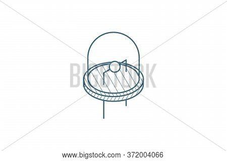 Led Bulb Isometric Icon. 3d Line Art Technical Drawing. Editable Stroke Vector