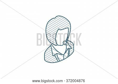 Technical Support, Headphones Microphone, Operator Isometric Icon. 3d Line Art Technical Drawing. Ed