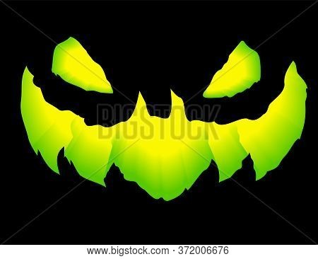 Green Grinning Jack Lantern.smile Glowing In The Dark Pumpkin. 3d Realistic Vector Illustration.