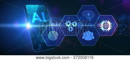 Ai Learning And Artificial Intelligence Concept. Business, Modern Technology, Internet And Networkin