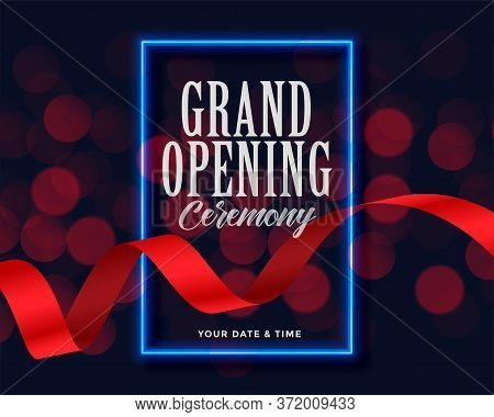 Grand Opening Template With Ribbon And Bokeh Lights
