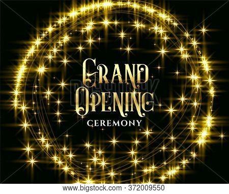 Golden Glitering Sparkles Grand Opening Background Design