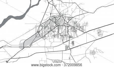 Urban Vector City Map Of Bahawalpur, Pakistan, Asia.