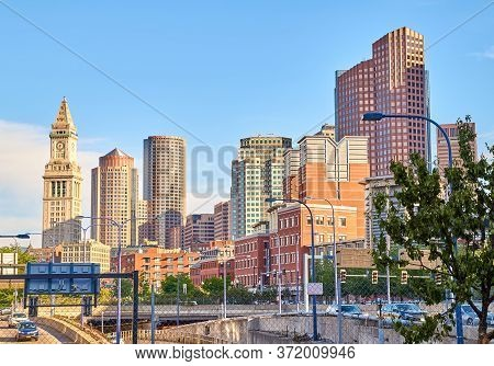 Boston, Ma, Usa - June 07, 2020: Nice Scenic View Of Boston Downlown In The Evening Over Blue Sky. B