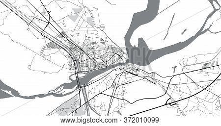 Urban Vector City Map Of Sukkur, Pakistan, Asia.