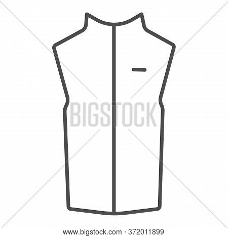 Sport Vest Thin Line Icon, Outdoor Clothing Concept, Sleeveless Jacket Sign On White Background, Wai