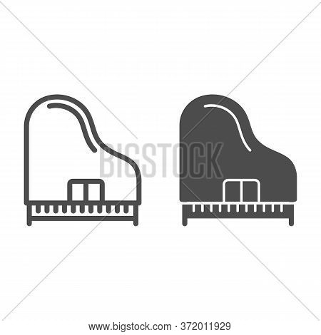 Piano Line And Solid Icon, Music Instruments Concept, Synthesizer Sign On White Background, Grand Pi