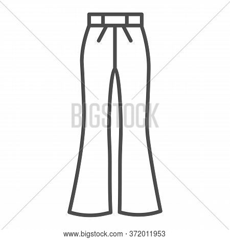 Flared Pants Thin Line Icon, Clothes Concept, Retro Pants Sign On White Background, Flared Jeans Ico