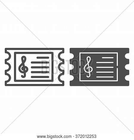 Music Concert Ticket Line And Solid Icon, Music Festival Concept, Invitation Card Sign On White Back
