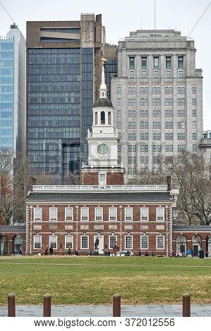 Philadelphia, Usa - December 14, 2019: Independence Hall Building. Independence Hall Is The Building