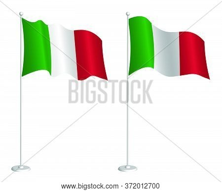Flag Of Italian Republic On Flagpole Waving In The Wind. Holiday Design Element. Checkpoint For Map
