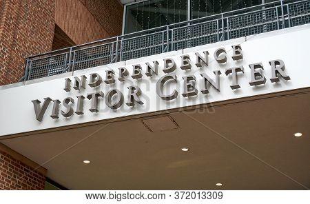 Philadelphia, Usa - December 14, 2019: Independence Visitor Center Building. Independence Visitor Ce